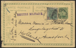 N°129 Croix Rouge Obl. PMB S/entier CP 5c Vers La Hollande Le 9/11/15 + CENSURE MILITAIRE. Belle Combinaison. Red Cross - 1914-1915 Red Cross