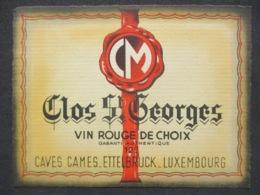 LUXEMBOURG - ETTELBRUCK, Caves CALMES, étiquette De Vin CLOS ST. GEORGES - Ettelbruck