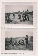 2 FOTO'S    VAN DUITSERS MET GESCHUT  7.5 X 6 CM - Guerre 1939-45