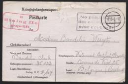 CP De Prisonnier Belge STALAG IIC 16/12/40 + Cachet NE PAS UTILISER DES ENVELOPPES AVEC DOUBLURE - WW II