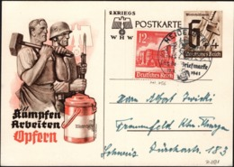 Germany - Uprated PSC (Mi. P 291a + Mi. 756) WHW Sonderpostkarte + SST. Heidelberg 12.1.1941 - Frankfurt. - Stamped Stationery