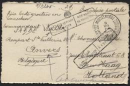 CP Non Affr. De MIDDELKERKE Vers La Hollande Le 9/7/45 + NON ADMIS AU TRANSPORT Et Retour - WW II