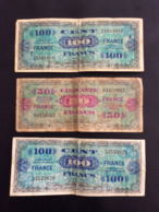 3 BILLETS 50 & 100 FRANCS 1944 - 100 F 1942-1944 ''Descartes''