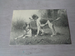 Illustrateur ( 1476 )   Pas Signée  - Carte Genre Viennoise -  Chiens De Chasse  Chien  Honden  Hond  Jacht - Illustrateurs & Photographes