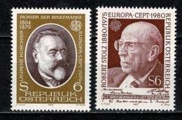 Osterreich 1979/1980 EUROPA Yv. 1437**, 1481**, Mi 1608**, 1652**, Ank 1640**, 1684** MNH - 1945-.... 2ème République