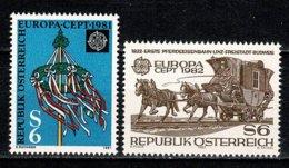 Osterreich 1981/1982 EUROPA Yv. 1500**, 1541**, Mi 1671**, 1731**, Ank 1671**, 1744**,  MNH - 1945-.... 2ème République