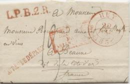 BELGIQUE - CAD HUY + L.P.B.2.R. ROUGE + APRES LE DEPART SUR LETTRE AVEC TEXTE DE FRAITURE  POUR LA FRANCE, 1834 - 1815-1830 (Dutch Period)