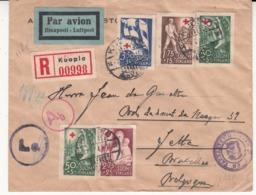 Enveloppe De FINLANDE Vers    Jette  Belgique    1941 Recommandé   Et Censure - WW II