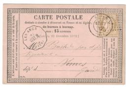 1876 - CACHET CONVOYEUR STATION De LES ARCS LIGNE VINTIMILLE MARSEILLE VINT. M Sur CARTE PRECURSEUR CERES 15c NIMES VAR - 1877-1920: Période Semi Moderne