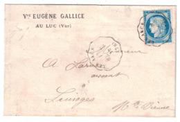 1876 - CACHET CONVOYEUR STATION De LES ARCS LIGNE DRAGUIGNAN MARSEILLE D. MARS Sur LETTRE CERES 60 GALLICE LUC VAR - 1877-1920: Période Semi Moderne