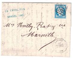 1874 - CACHET CONVOYEUR STATION De BANDOL LIGNE DRAGUIGNAN MARSEILLE D. MARS Sur LETTRE CERES N° 60 ENTETE CAYOL VAR - 1877-1920: Période Semi Moderne