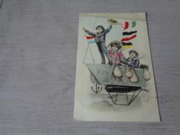 Illustrateur ( 1490 )   Pas Signée  - Carte Genre Viennoise  - Ballon  Luchtschip  Zeppelin - Illustrateurs & Photographes