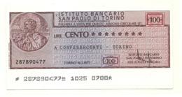 1977 - Italia - Istituto Bancario San Paolo Di Torino - Confesercenti - Torino - [10] Assegni E Miniassegni