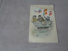 Illustrateur ( 1491 )   Pas Signée  - Carte Genre Viennoise  - Ballon  Luchtschip  Zeppelin - Illustrateurs & Photographes