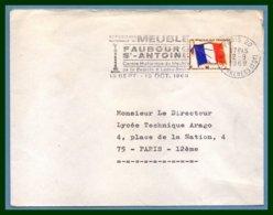 Flamme Temporaire Exposition Nationale Meuble Faubourg St Antoine 19 Sept - 10 Oct 1969 Paris 20 / FM N° 13 - Marcophilie (Lettres)