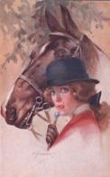 Portrait De Femme Au Chapeau Et Cheval Par Illustrateur (192.2) - Illustratori & Fotografie