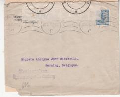 Enveloppe  1914/18  Timbre Avec Perforation Du Danemark    Vers  La   Belgique   Censure   2 Scan - Guerre 14-18