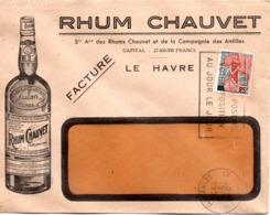 Boisson, Rhum Chauvet, Le Havre, Antilles, Facture - Enveloppe Illustrée - Classe Ouverte    (V404) - Spiritueux