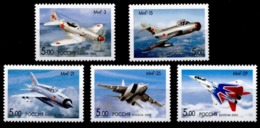 Russia 2005 100th Birth Anni A.I. Mikoyan Planes Transport Airplanes Aviation Aircraft Plane Fighter Military Stamps MNH - Celebrations