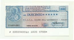 1976 - Italia - Istituto Bancario San Paolo Di Torino - U.I.C.A. Salone Dell'Automobile - Torino - [10] Assegni E Miniassegni