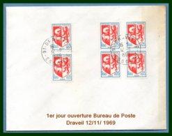 1er Jour Ouverture Bureau De Poste Draveil - D - 91 Essonne  12 / 11 / 1969 - Marcophilie (Lettres)