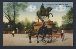 Ireland - Jaunting Car In Phoenix Park, Dublin - Horse Carriage People - Rider And Horse Monument - Dublin