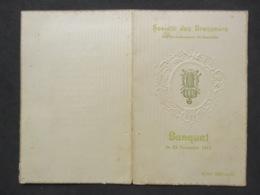 BRUXELLES - HOTEL METROPOLE, Menu SOCIÉTÉ DES BRASSEURS, Banquet Du 23 Novembre 1912 - Menus