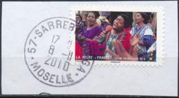 France - Contre Les Violences Faites Aux Femmes YT A417 Obl. Cachet Manuel Rond Sur Fragment - Francia