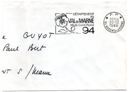 VAL De MARNE - Dépt N° 94  NOGENT Sur MARNE 1966 = FLAMME PP Codée = SECAP  ' N° De CODE POSTAL / PENSEZ-Y ' - Zipcode