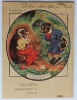 Ancien Protège Cahier D'écolier Alcool Byrrh Le Chat La Belette Et Le Petit Lapin Fables De La Fontaine - Blotters