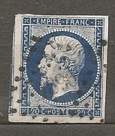 Yv. N° 14Aa  (o)  20c  Type I  Bleu Foncé Napoléon III  Losange Petits  Cote  8 Euro  Euro  BE  2 Scans - 1853-1860 Napoléon III