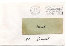 VAL De MARNE - Dépt N° 94  NOGENT Sur MARNE 1971 = FLAMME PP Codée à DROITE = SECAP  ' N° De CODE POSTAL / PENSEZ-Y ' - Postleitzahl