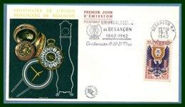 FDC Flamme Centenaire Ecole D'Horlogerie 19/5/ 1962 Besançon N° 1342 - Marcophilie (Lettres)