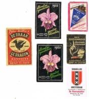 Gent: Rookwaren + Floraliën (1955 En 1960) + Koffie's De Draak - Scatole Di Fiammiferi - Etichette