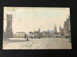 Carte Postale Ancienne  OSTENDE  La Gare L'Entrée De La Ville LA NOUVELLE EGLISE - Oostende