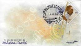 COSTA RICA 150 YEARS BIRTH Of MAHATMA GANDHI PREPAID ADDRESSED W/LOGO CANCEL 2019 - Mahatma Gandhi