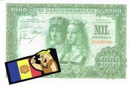 Billet Facsimil  1000 Pts 0000000 España Espagne1957 Nov. - [ 3] 1936-1975: Regime Van Franco