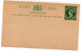 Tarjeta Postal De Gibraltar Half Penny Verde - Gibraltar