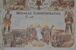 Diplôme De Médaille Commémorative Guerre 1870/71 Troisième République - Francia