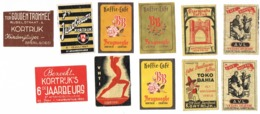 Kortrijk: Koffie A.V.L. + Tokio Bahia + Bruynooghe / VHTI / 6de En  7de Jaarbeurs /  'Ter Gouden Trommel' - Luciferdozen - Etiketten
