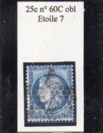 Paris - N° 60C Obl étoile 7 - 1871-1875 Cérès