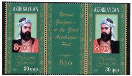 Azerbaijan 2011 .Poet Nizami Ganjavi. Strip Of 2v X 30qep +label.    Michel # 882-83 - Azerbaiján
