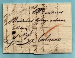 Brief Met Inhoud 01/08/1785, Lijnstempel DE FRANCFORT Naar Bolzano - [1] ...-1849 Voorlopers