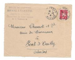DOCUMENT Commercial ENVELOPPE De 1942..Salon De Coiffure, Chaussures Henri LEGENTIL à CERENCES ( Manche 50)...Recto Seul - Francia