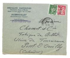 DOCUMENT Commercial ENVELOPPE 1942..Spécialités Pantoufles, DUBROUILLET à BELLENGREVILLE (Calvados 14)...Recto Seul - Francia