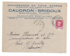 DOCUMENT Commercial ENVELOPPE 1942..Chaussures, Chapellerie CAUDRON-BRIDOUX à RANG Du FLIERS (62)...Recto Seul - Francia