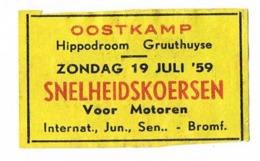 Oostkamp: Snelheidskoersen 1959 - Scatole Di Fiammiferi - Etichette