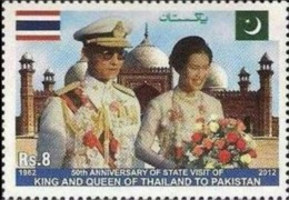(Free Shipping*)KING BHUMIBOL ADULYADEJ AND QUEEN SIRIKIT, FLAGS, BADSHAHI MOSQUE,  MNH 2012 - Mosquées & Synagogues