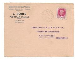 DOCUMENT Commercial ENVELOPPE 1942..Chaussures L. ROHEL à PLOUENAN ( Finistère 29)...Recto Seul - France