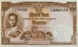 Thailand 10 Bath, P-76d (1953) - UNC - Signature 41 - Thailand